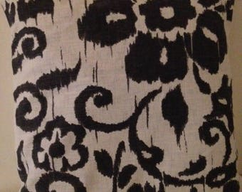 Black and grey linen pillow cover charcoal