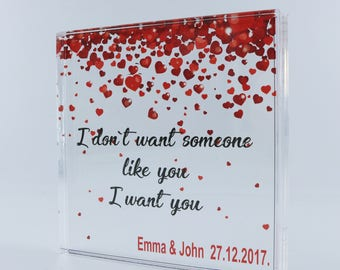 Personalized Square, Wedding Gift for Couple,  Save the date, Personalized Wedding Gift, Invitations, Valentines Day, Love quotes