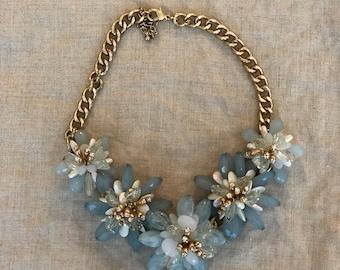 Blue Beaded Flowers Bib Statement Necklace