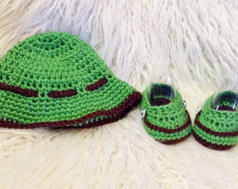 0-3 month baby boy bucket hat and loafers set, baby summer set