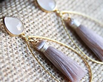 White Opal earrings,teardrop earrings,tassel earrings,hoop earrings,dangle earrings,drop earrings,blush tassel earrings,gold earrings