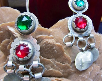 Berber Earrings with Red & Green Glass, South Marocco, Tiznit