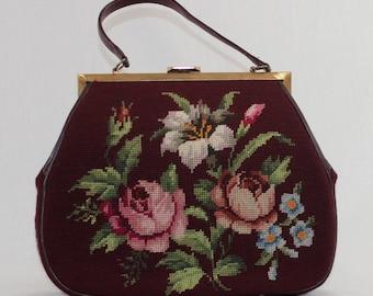 Vintage 1950s Tapestry hand bag / burgunday
