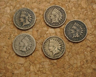 5-Copper Nickle Indian Head Pennies