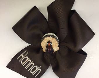 Monogram Any Name, Turkey Thanksgiving, Hair Bow, Fall Autumn Bows, Boutique Ribbons, Clips Custom, Embroidered Girls, Monogrammed Gifts,