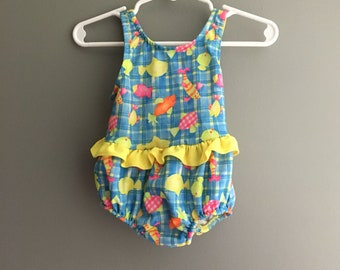 Vintage neon plaid and fish swimsuit 18 months
