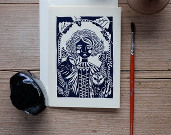 The Girl and the Owles – Handprinted greeting card.