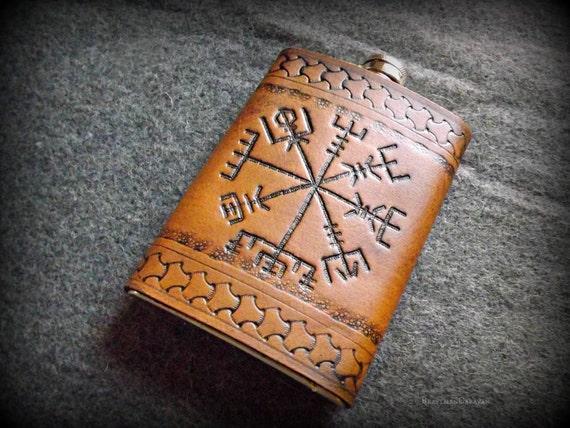 Viking Leather Flask - Vegvisir- 8oz Flask