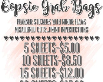 Oopsie Planner Stickers Grab Bag, Discounted Stickers,Perfect for the Erin Condren Life Planner, Plum Paper,MAMBI Planner, Personal Planners