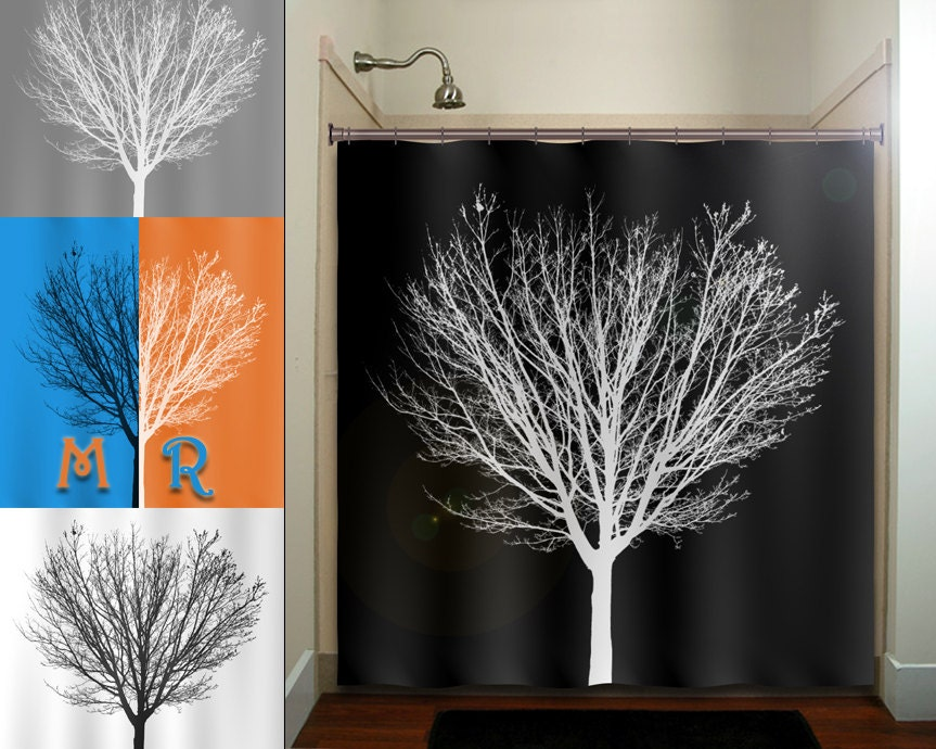 White Winter Tree Black Shower Curtain Fabric Extra Long