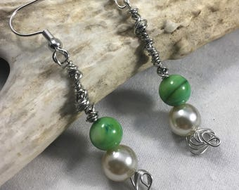silver wire wrapped green and pear beaded earrings