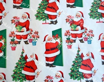 Vintage Wrapping Paper - Norcross 1950's Santa Claus - 30 x 36