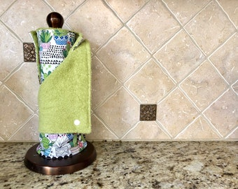 Unpaper towels, reusable paper towels, eco friendly gift, green towels, zero waste, natural cleaning, fabric paper towels, cactus decor