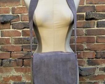 Purplish Gray Fox Mini Messenger Bag Purse Satchel College Professional Faux Suede Herringbone