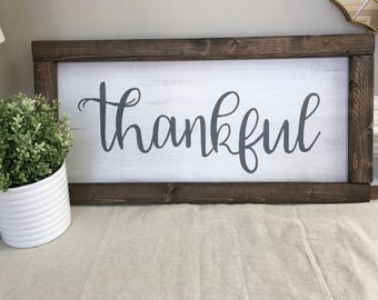 Thankful Wall Sign, Rustic Sign, Farmhouse Wall Art, Wood Sign, Calligraphy Letters, Painted Sign, White Wood Sign, Wood Frame, Thankful