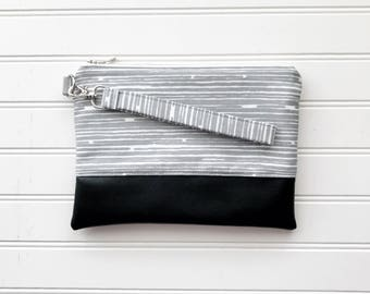 CLASSIC COLLECTION Grey Stripe Mommy Clutch - Wallet Clutch - Small handbag - Black Wristlet - Wallet Clutch