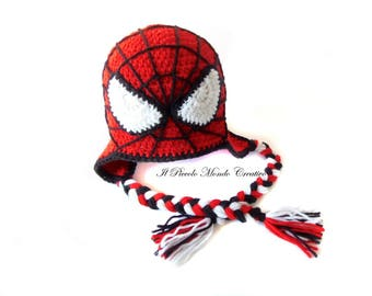 Spiderman Hat, Made to Order, Beanie Spiderman, Handmade Crochet Character Hat, Ear Flap Hat