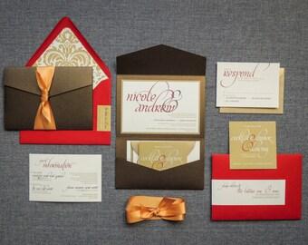 "Gold Wedding Invitations, Dramatic Invitation Suite, Gold Pocket Wedding Invitation, Indian Wedding Card - ""Dramatic Script"" PF-1L-v3 SAMPLE"