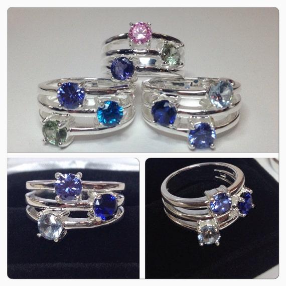 Custom Multi Gemstone Ring Mothers Day Birthstone Personalized