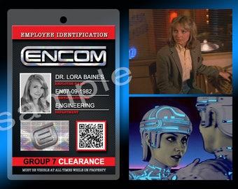 New! Disney Tron Lora Baines ENCOM Security ID Identification 4x6 Lanyard Badge Tag Theme Park Legacy Flynn The Grid Attraction Orlando