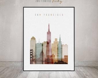 San Francisco Wall art, San Francisco Poster, San Francisco skyline print, Watercolor, Typography art, Travel decor, ArtPrintsVicky