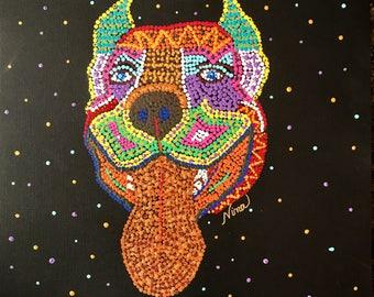 "Dot Pointillism, Acrylic, Pit bully, Dog, 12"" square, black canvas paper, dot art, pointillist art, original art, artwork"