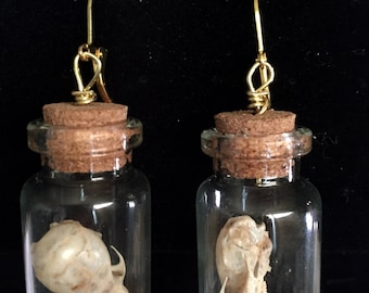 Mouse skull earrings