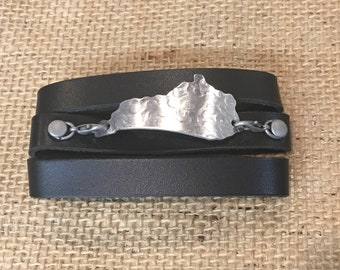 Black Wrap Around Leather Cuff Bracelet - Kentucky Leather Cuff