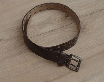 Part Time leather belt, brown leather, belt with multiple fastening points