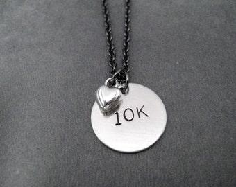 10K LOVE Necklace - 10k Running Necklace on Gunmetal chain - Running Jewelry - Run Necklace - 10K Running - Love 10k - First 10k Road Race