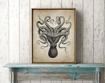 Octopus Wall Art Print, Rustic Bathroom Decor, Octopus Poster, Octopus Illustration, Marine Printable Art  Single Print #31 INSTANT DOWNLOAD