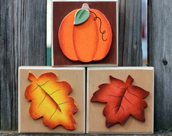 Fall Autumn October Wood Block Shelf Sitters for Interchangeable Welcome Sign