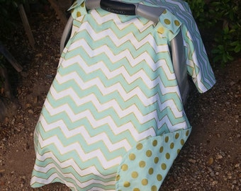 Baby Car Seat Cover - Baby Car Seat Canopy - Mint Car Seat Canopy - White Gold Car Seat Canopy - Chevron Car Seat Cover - Baby Shower Gift