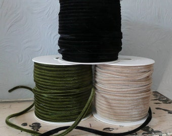 Velvet Tubular Ribbon // Rouleaux // Beige Green Black // Millinery Supplies - 1 OR 5 meters