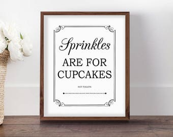 Boys Bathroom Sign, Sprinkles Are For Cupcakes, Menu0027s Toilet Art, Printable  Art,