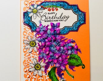 Birthday Card for Women, Heartfelt Creations, DebbiesCardShop,JustRite Papercraft, Flower Card, Lilac and Daisys Card, Bright Orange