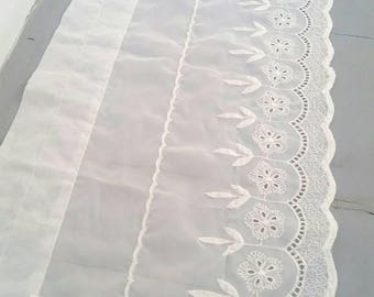 """Large White Sheer Embroidered Lace Curtain. White sheer window curtain. Long White window topper. Sheer window topper. 60 x 13""""."""