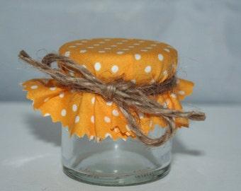 Buttercup Yellow Polka Dot Wedding Favour Fabric Jam Jar Covers Lids Tops