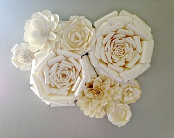 Paper Flower Wall Decor - Wedding Decor - Home Decor - Paper Flower Backdrop - Champagne -  Paper Flowers - Photo Shoot - Backdrop