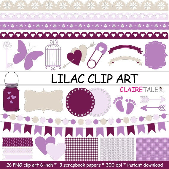 "Digital ""LILAC CLIP ART"" frames, labels, ribbons, borders, flags, arrows, butterfly, lights, hearts, mason jar, key, bird cage, baby shower"