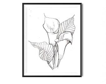 Lily Print, Flower Art, Botanical Illustration, Wall Art, Pen Ink Print, Floral Art, Botanical Print, Black White Flower Print, Flora Print