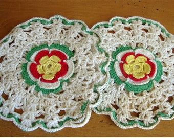 Two Vintage Pot Holders Hand Crocheted Flowers