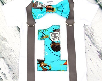 Baby boy birthday pirate onesie Pirate themed first birthday shirt with bow tie and suspenders  baby boy first birthday cake smash outfit