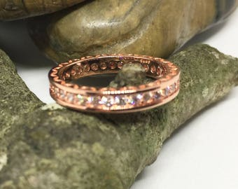 Women Rose Gold Ring with Zirconia Diamonds Size 6