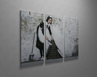 """Banksy Maid in London Gallery Wrapped Canvas Triptych Print 48"""" x 30"""""""