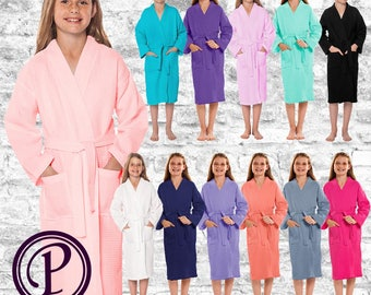 12 Color Options Kids Waffle Kimono Robe, Monogrammed Robe, Embroidered Robe, Wedding Day Robe, Bridal Party Robe, Flower Girl, Spa Robe