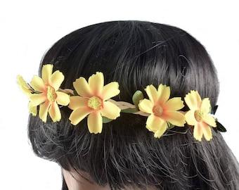 Wedding - yellow flower Crown headband