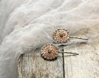 Rhinestone hair pins, copper bobby pins, crystal hair clips, art deco hair accessory, wedding hair clips, hair adornments, bridal bobby pins