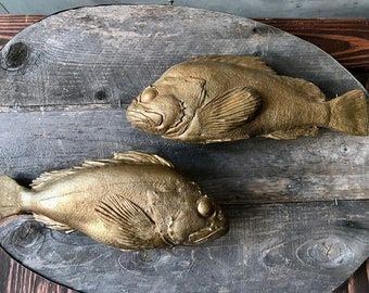 Go Fish! Artisanal Original Bass Casting Ceramic Fired Gold Gilt Fish Mounted to Rustic Reclaimed Wood Plaque