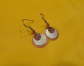 Mixed metals make people say oooh I love your copper and silver earrings (Style #472)